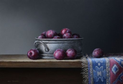 Plums In Pewter Bowl